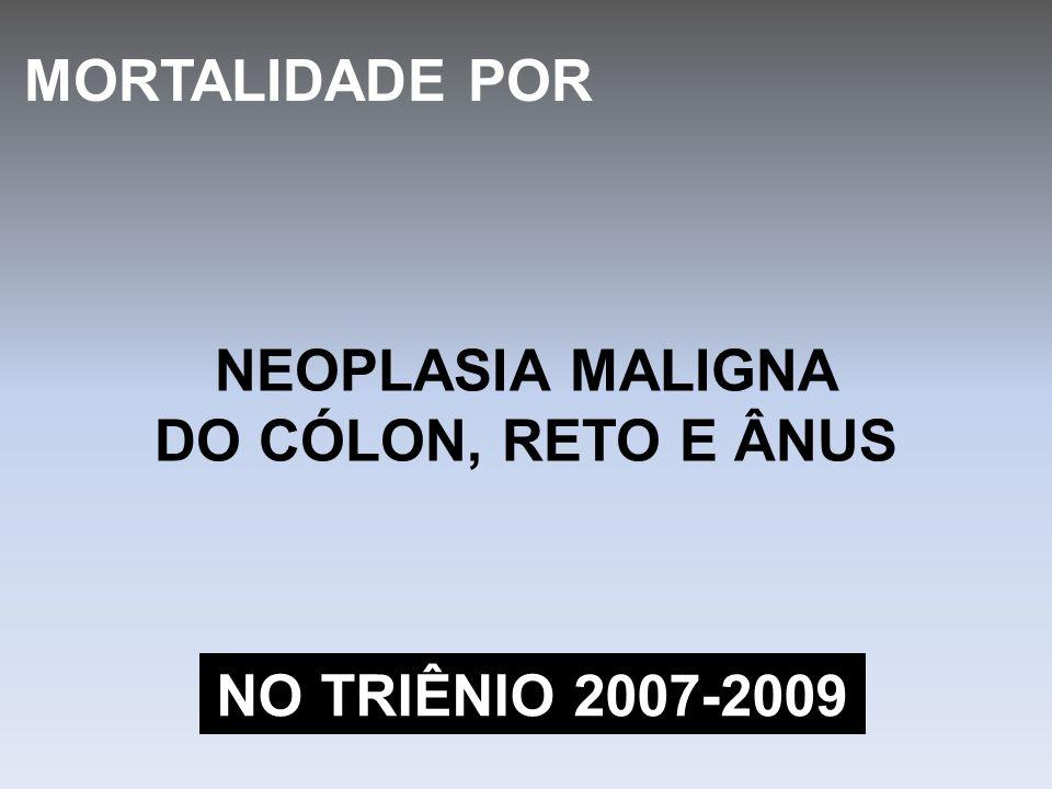 NEOPLASIA MALIGNA DO CÓLON, RETO E ÂNUS MORTALIDADE POR NO TRIÊNIO 2007-2009