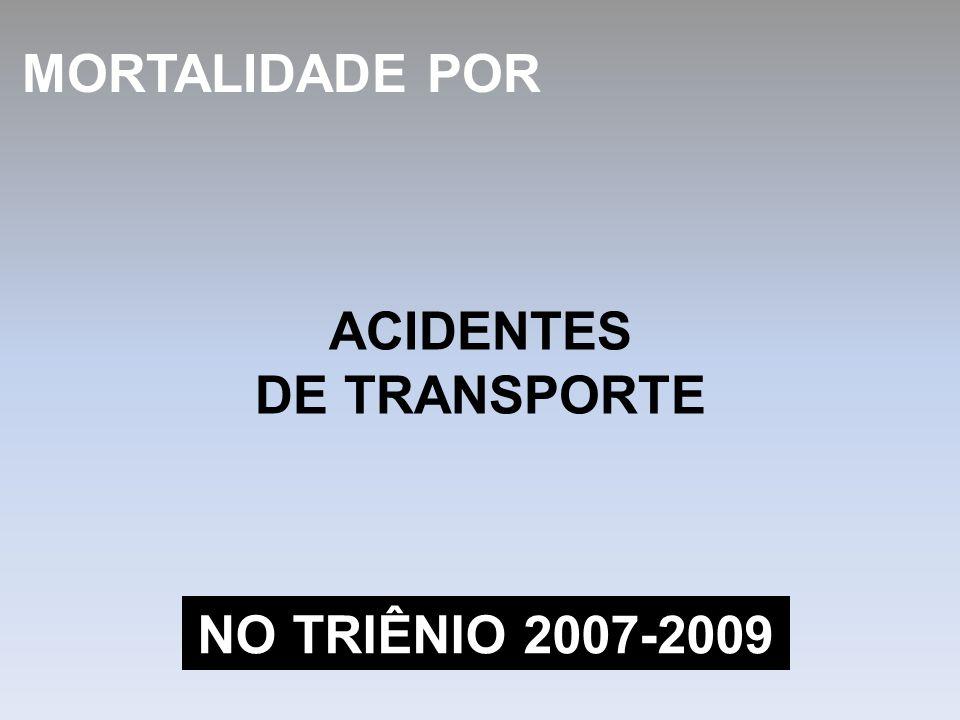 ACIDENTES DE TRANSPORTE MORTALIDADE POR NO TRIÊNIO 2007-2009