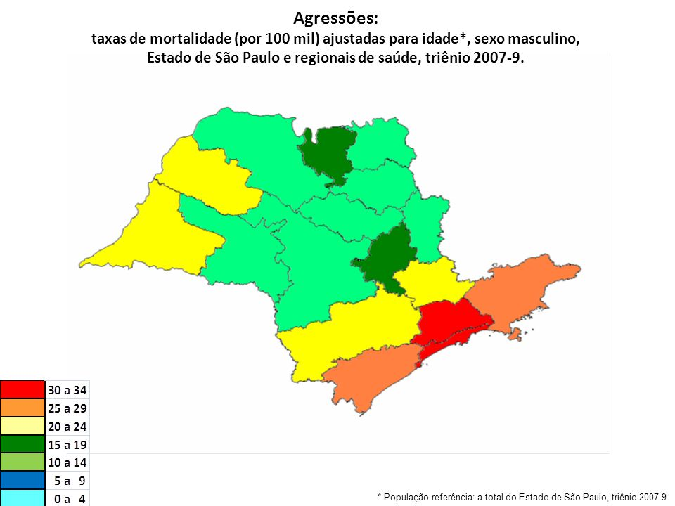 Agressões: taxas de mortalidade (por 100 mil) ajustadas para idade*, sexo masculino, Estado de São Paulo e regionais de saúde, triênio 2007-9.