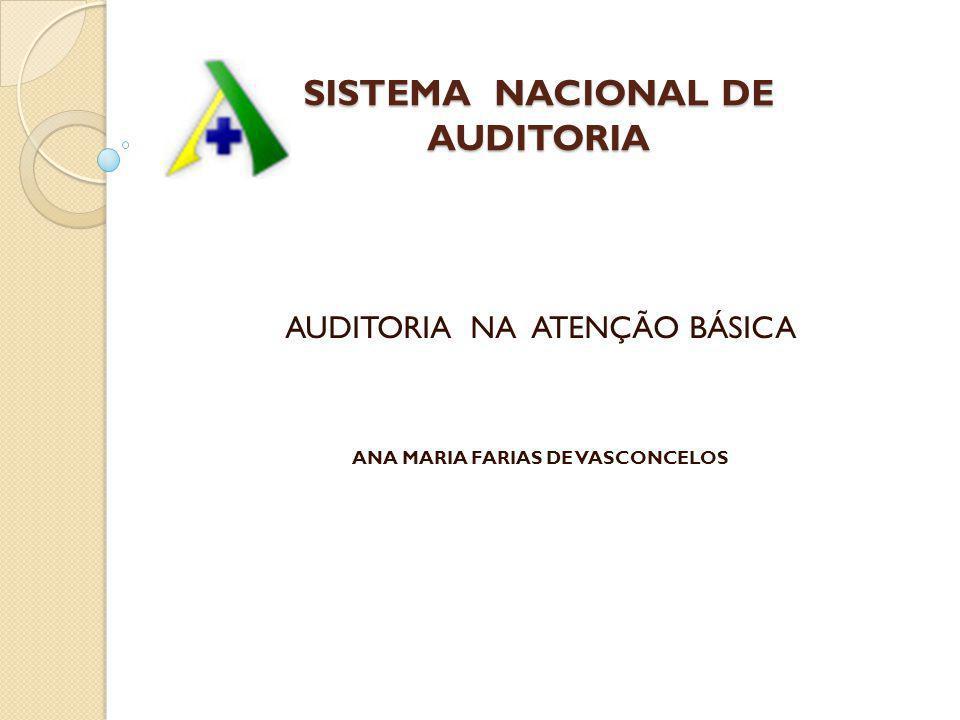 SISTEMA NACIONAL DE AUDITORIA AUDITORIA NA ATENÇÃO BÁSICA ANA MARIA FARIAS DE VASCONCELOS