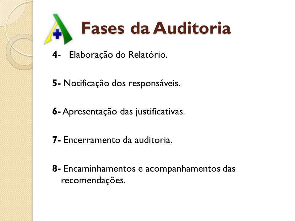 Fases da Auditoria 4- Elaboração do Relatório. 5- Notificação dos responsáveis. 6- Apresentação das justificativas. 7- Encerramento da auditoria. 8- E