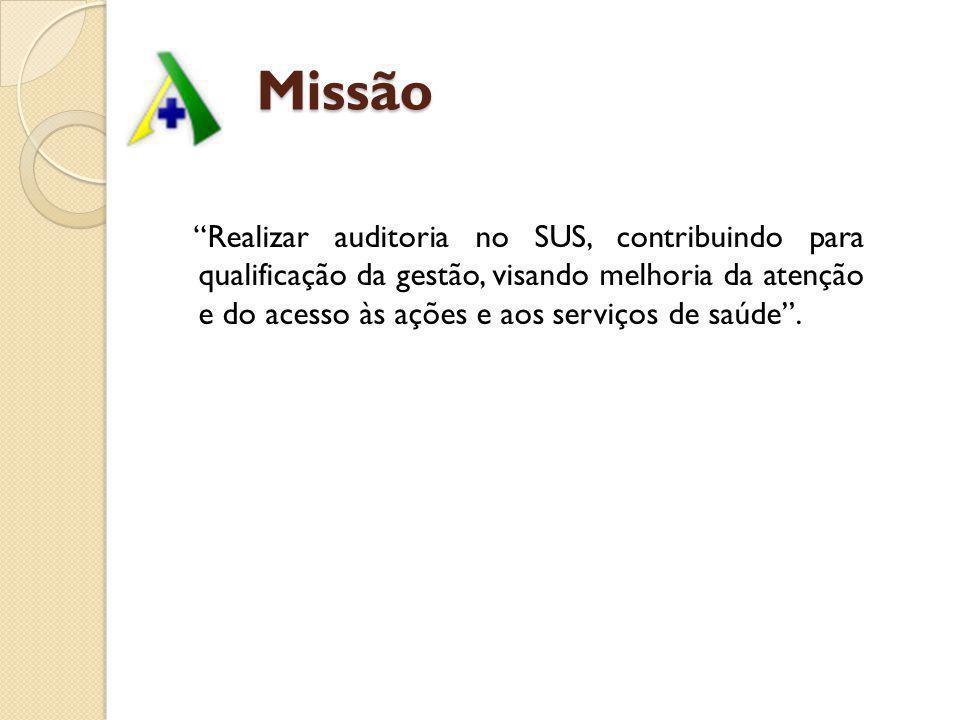 Missão Missão Realizar auditoria no SUS, contribuindo para qualificação da gestão, visando melhoria da atenção e do acesso às ações e aos serviços de