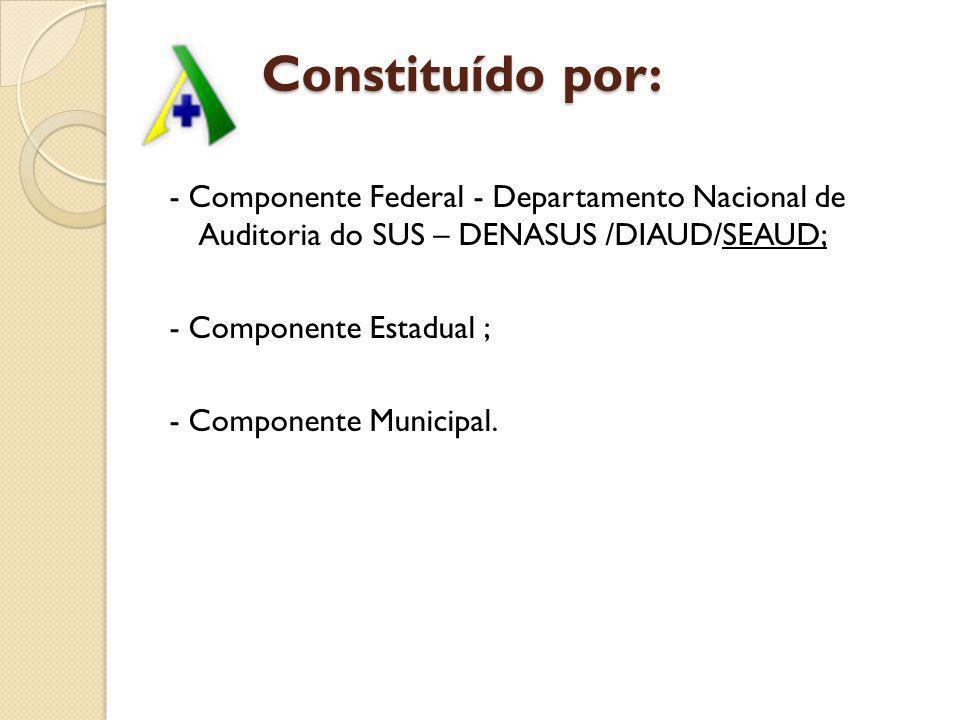 Constituído por: Constituído por: - Componente Federal - Departamento Nacional de Auditoria do SUS – DENASUS /DIAUD/SEAUD; - Componente Estadual ; - C