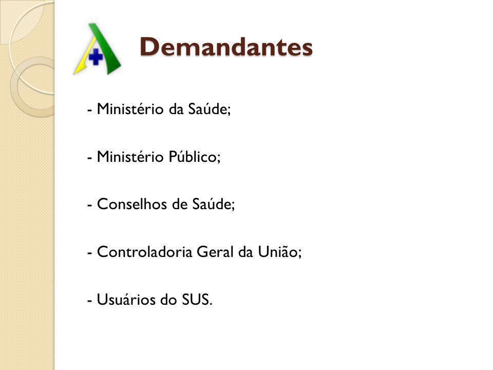 Demandantes - Ministério da Saúde; - Ministério Público; - Conselhos de Saúde; - Controladoria Geral da União; - Usuários do SUS.