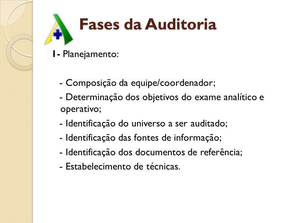 Fases da Auditoria 2- Fase Analítica: - Emissão do comunicado de Auditoria; - Relatórios e documentos que vão ser analisados/cruzados (SIA, SIH,SIAFI); - Relatórios de auditorias anteriores; - Normas e instruções vigentes; - Legislação específica; - Outros documentos pertinentes.