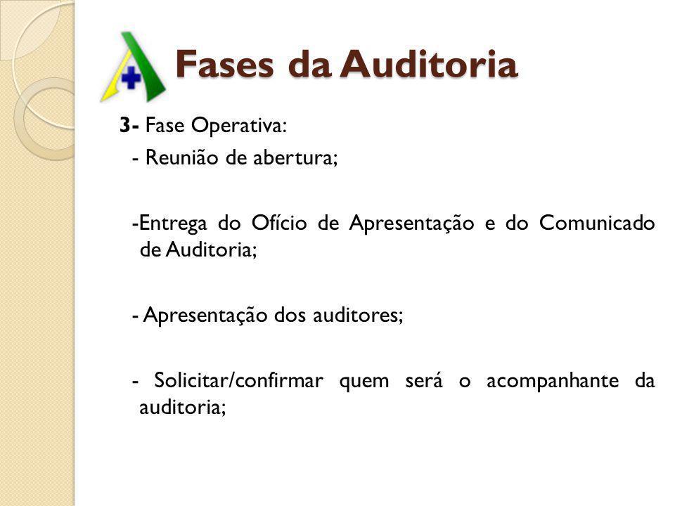 Fases da Auditoria 3- Fase Operativa: - Reunião de abertura; -Entrega do Ofício de Apresentação e do Comunicado de Auditoria; - Apresentação dos audit