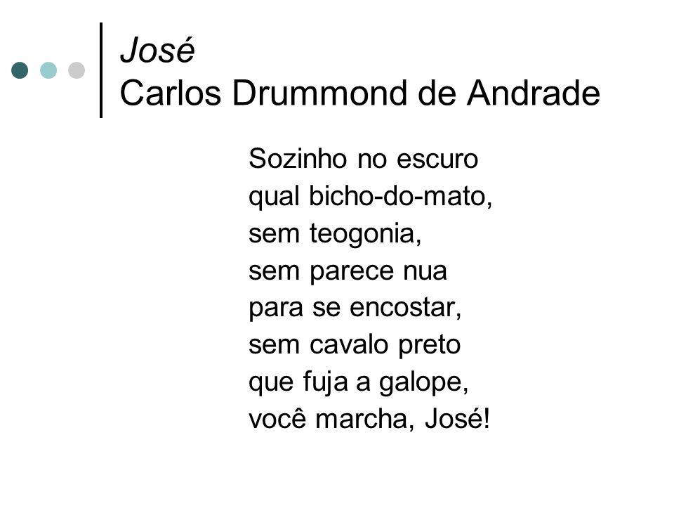 José Carlos Drummond de Andrade Sozinho no escuro qual bicho-do-mato, sem teogonia, sem parece nua para se encostar, sem cavalo preto que fuja a galope, você marcha, José!
