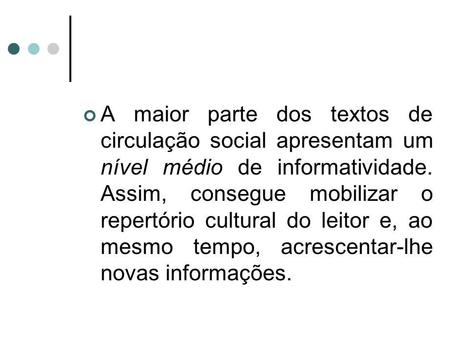 A maior parte dos textos de circulação social apresentam um nível médio de informatividade.