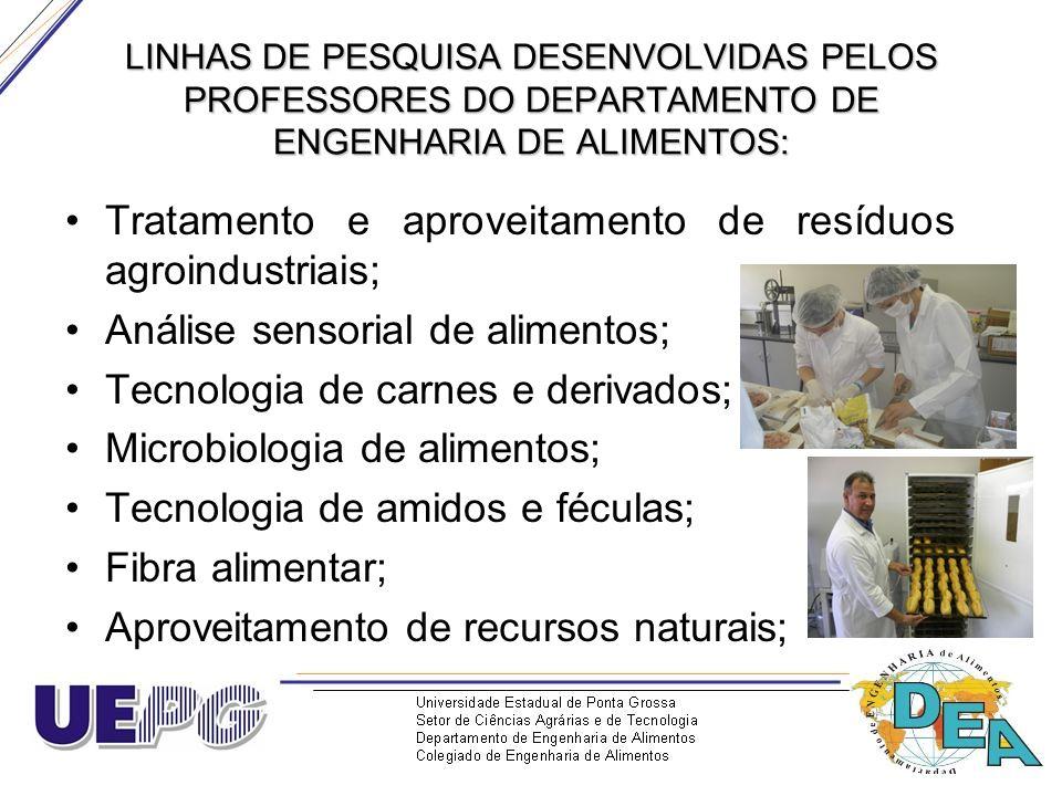 LINHAS DE PESQUISA DESENVOLVIDAS PELOS PROFESSORES DO DEPARTAMENTO DE ENGENHARIA DE ALIMENTOS: Tratamento e aproveitamento de resíduos agroindustriais