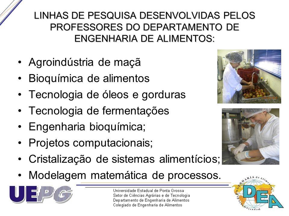 LINHAS DE PESQUISA DESENVOLVIDAS PELOS PROFESSORES DO DEPARTAMENTO DE ENGENHARIA DE ALIMENTOS: Agroindústria de maçã Bioquímica de alimentos Tecnologi