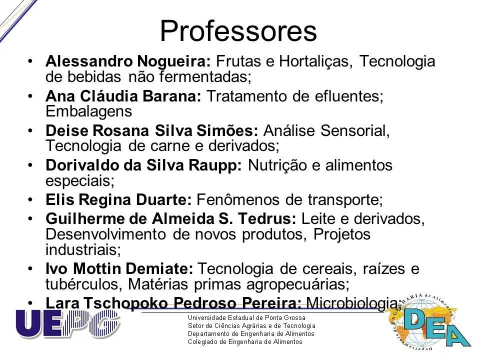 Professores Alessandro Nogueira: Frutas e Hortaliças, Tecnologia de bebidas não fermentadas; Ana Cláudia Barana: Tratamento de efluentes; Embalagens D