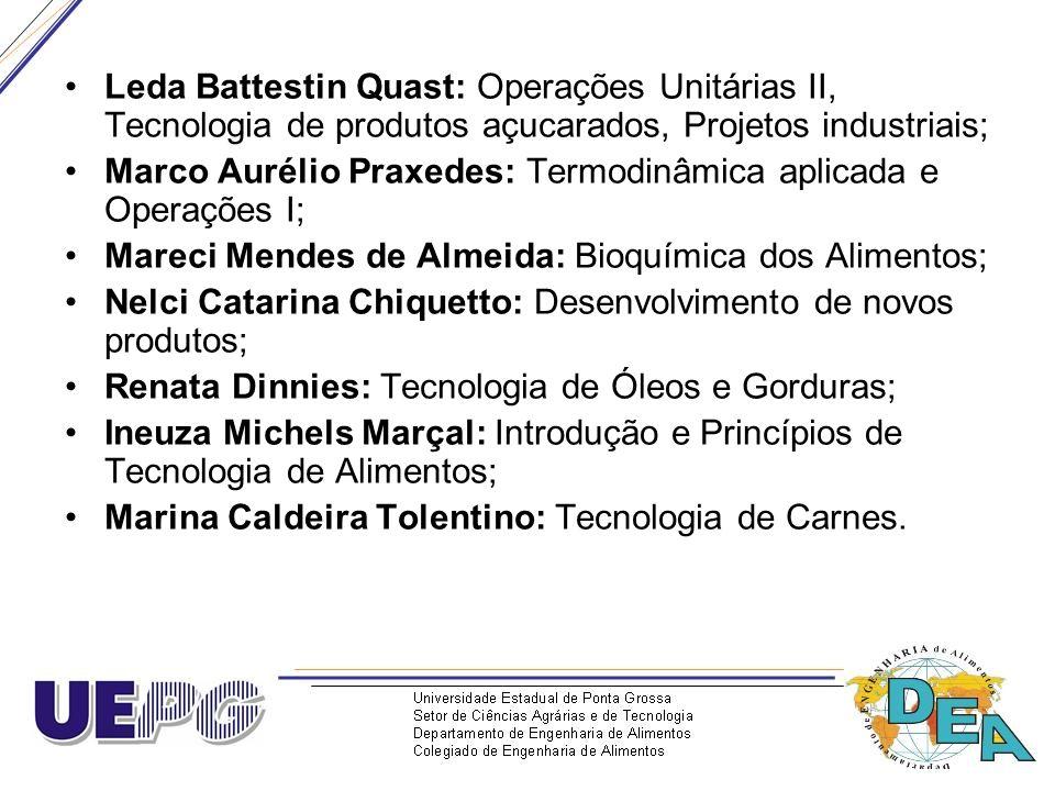 Leda Battestin Quast: Operações Unitárias II, Tecnologia de produtos açucarados, Projetos industriais; Marco Aurélio Praxedes: Termodinâmica aplicada