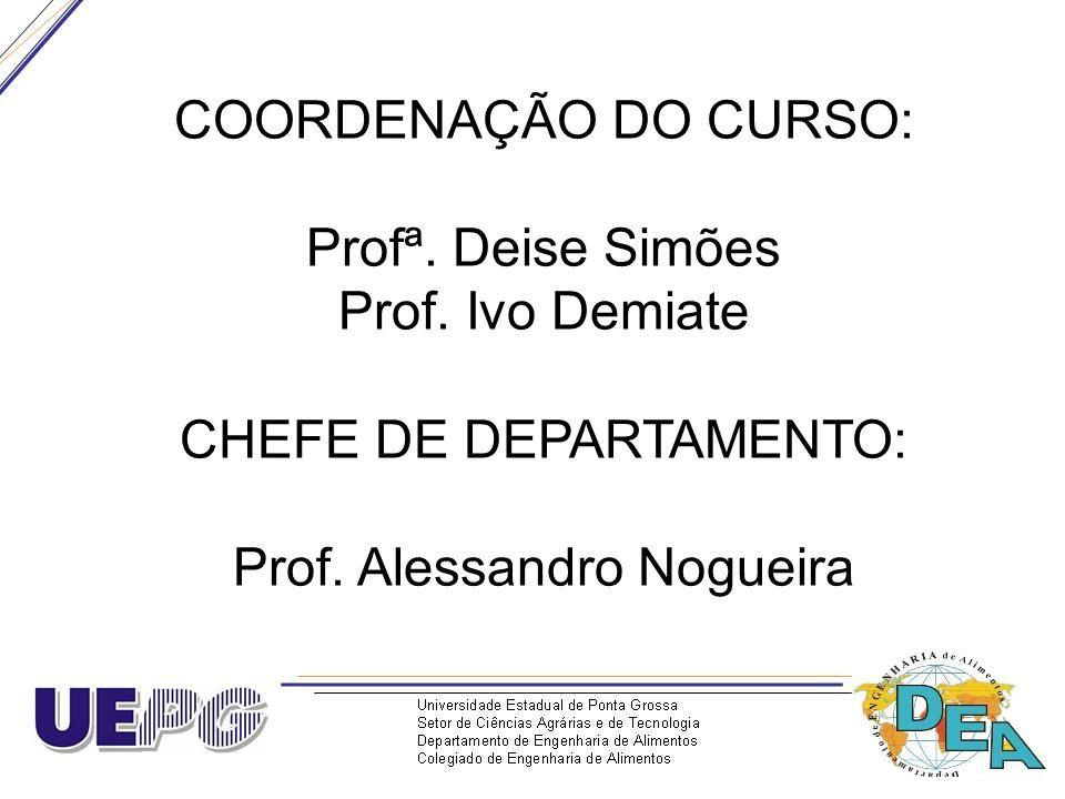 COORDENAÇÃO DO CURSO: Profª. Deise Simões Prof. Ivo Demiate CHEFE DE DEPARTAMENTO: Prof. Alessandro Nogueira