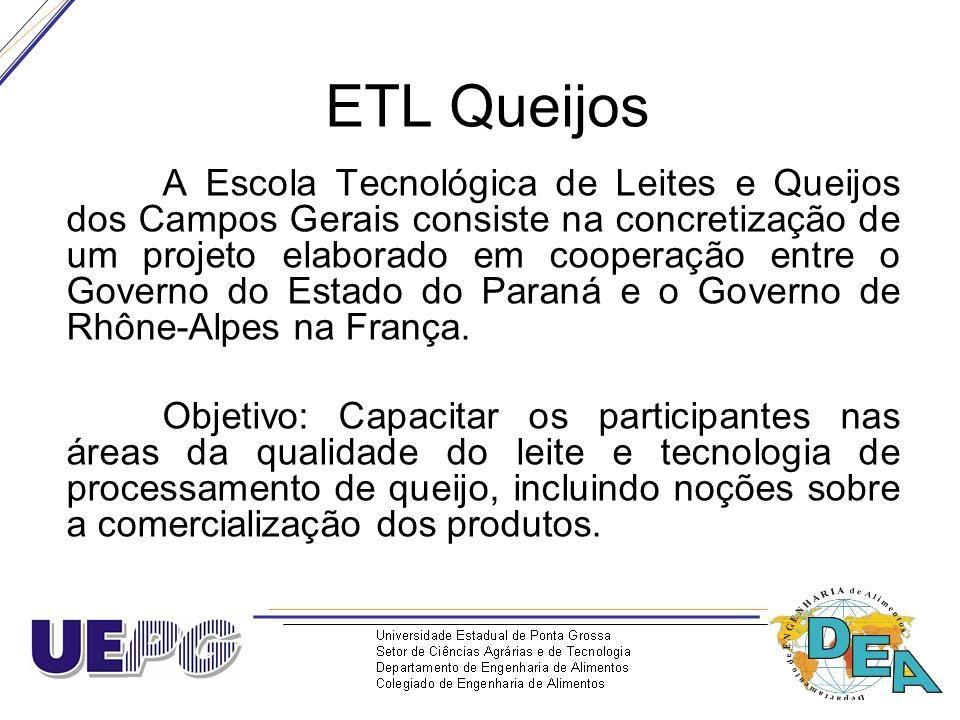 ETL Queijos A Escola Tecnológica de Leites e Queijos dos Campos Gerais consiste na concretização de um projeto elaborado em cooperação entre o Governo