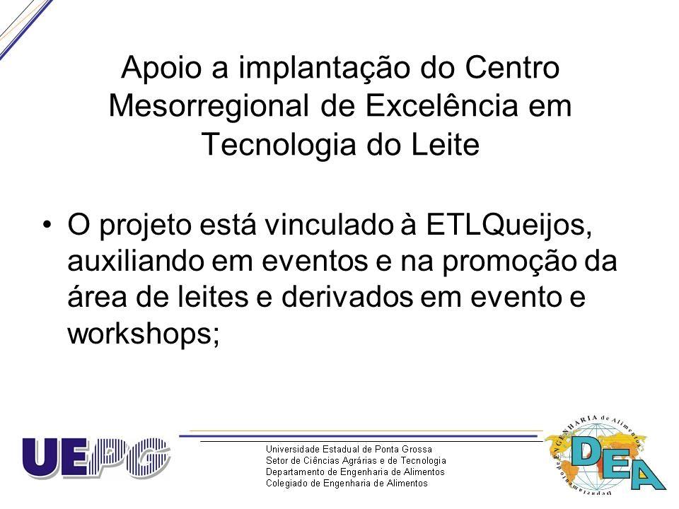 Apoio a implantação do Centro Mesorregional de Excelência em Tecnologia do Leite O projeto está vinculado à ETLQueijos, auxiliando em eventos e na pro