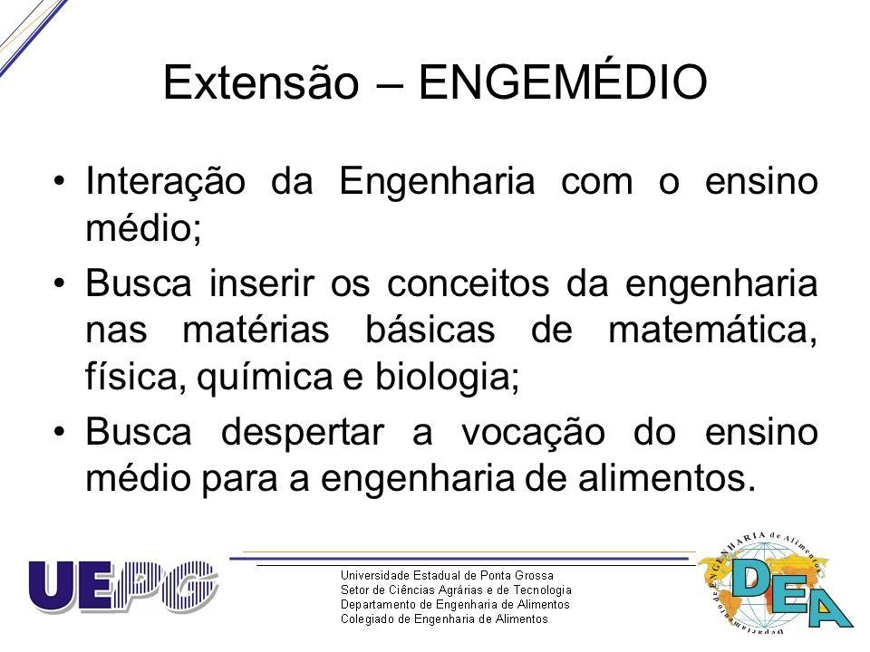 Extensão – ENGEMÉDIO Interação da Engenharia com o ensino médio; Busca inserir os conceitos da engenharia nas matérias básicas de matemática, física,