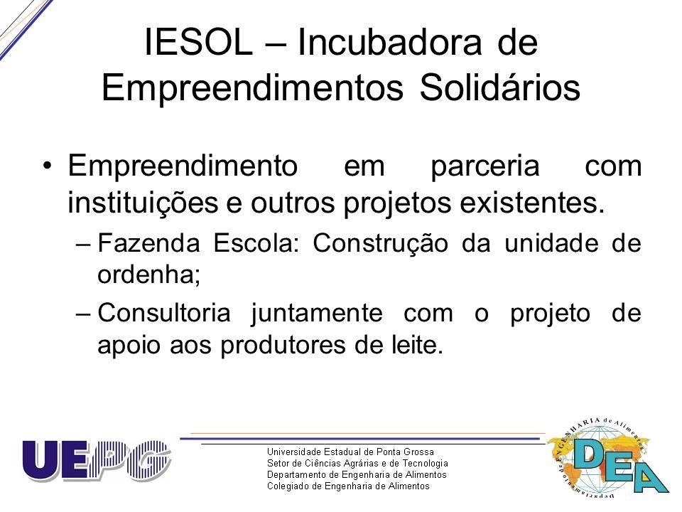 IESOL – Incubadora de Empreendimentos Solidários Empreendimento em parceria com instituições e outros projetos existentes. –Fazenda Escola: Construção