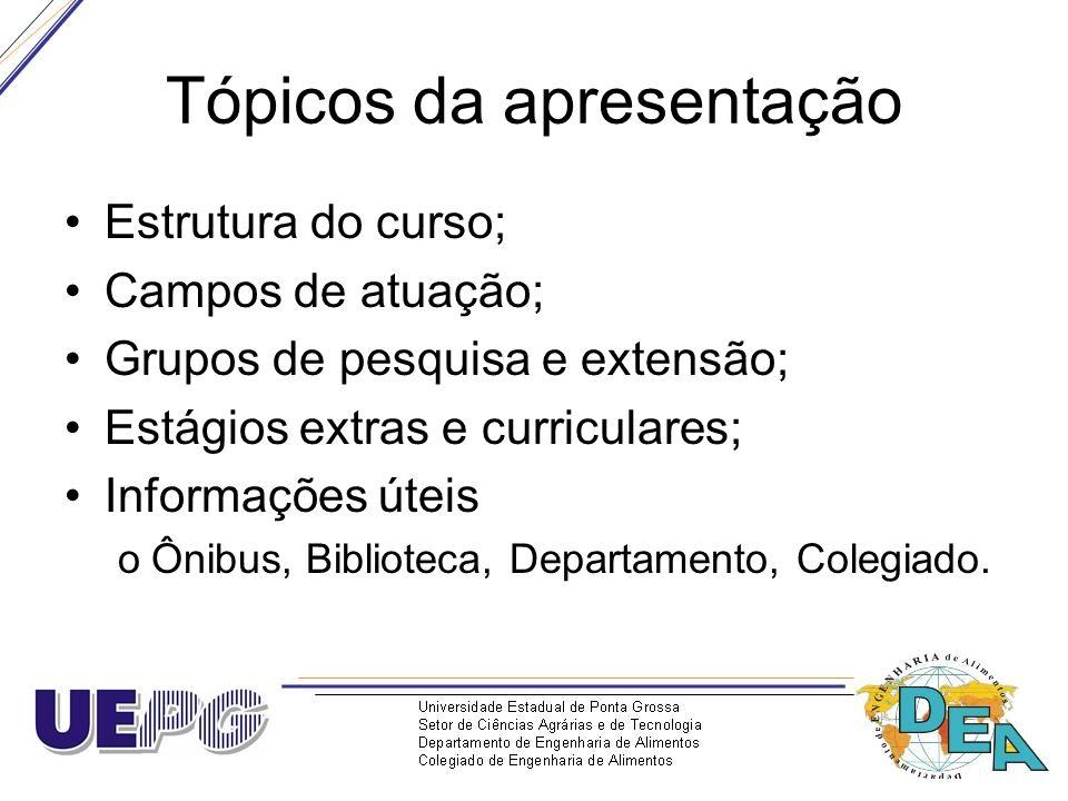Tópicos da apresentação Estrutura do curso; Campos de atuação; Grupos de pesquisa e extensão; Estágios extras e curriculares; Informações úteis oÔnibu