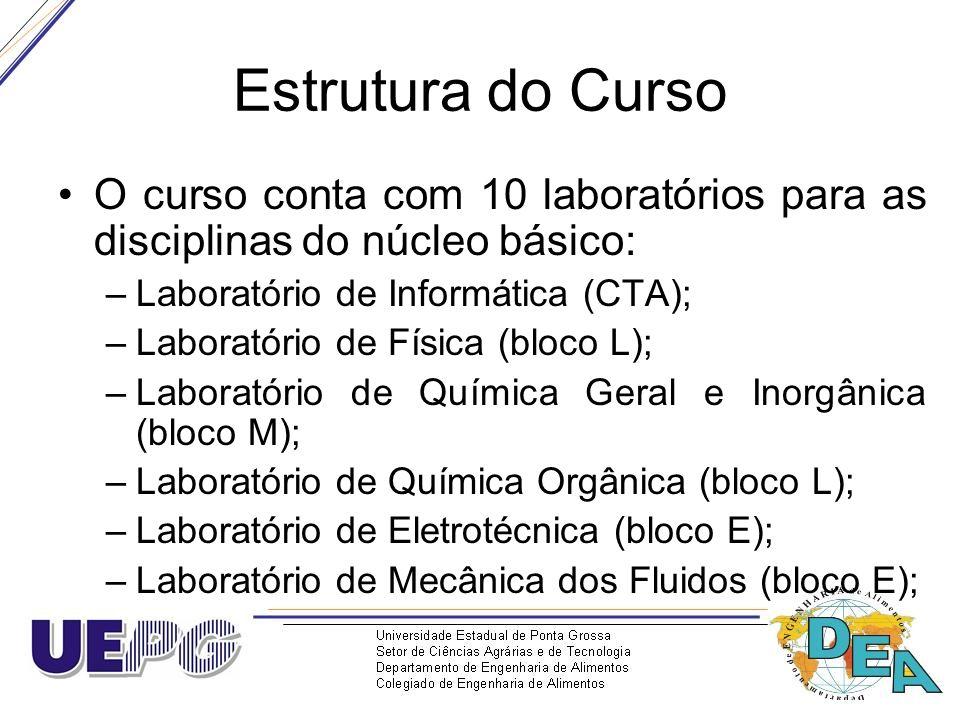 Estrutura do Curso O curso conta com 10 laboratórios para as disciplinas do núcleo básico: –Laboratório de Informática (CTA); –Laboratório de Física (