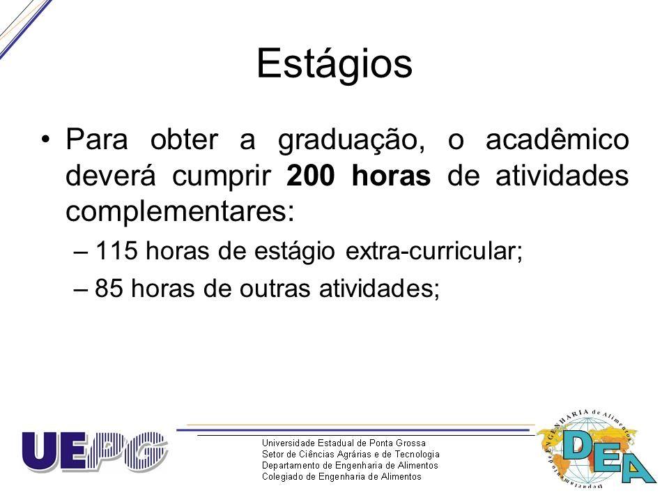 Estágios Para obter a graduação, o acadêmico deverá cumprir 200 horas de atividades complementares: –115 horas de estágio extra-curricular; –85 horas