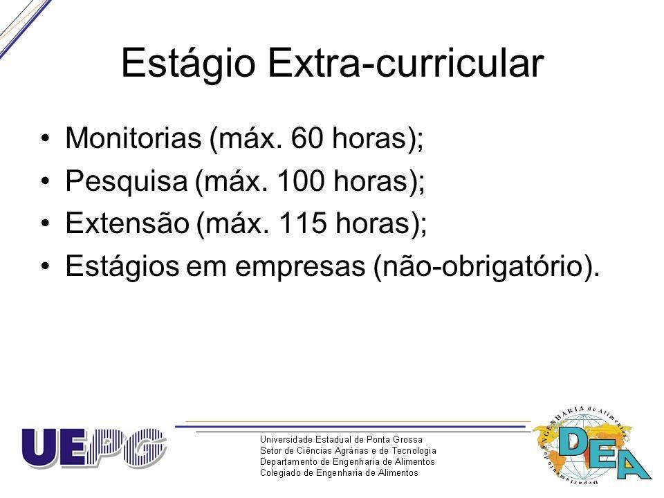Estágio Extra-curricular Monitorias (máx. 60 horas); Pesquisa (máx. 100 horas); Extensão (máx. 115 horas); Estágios em empresas (não-obrigatório).