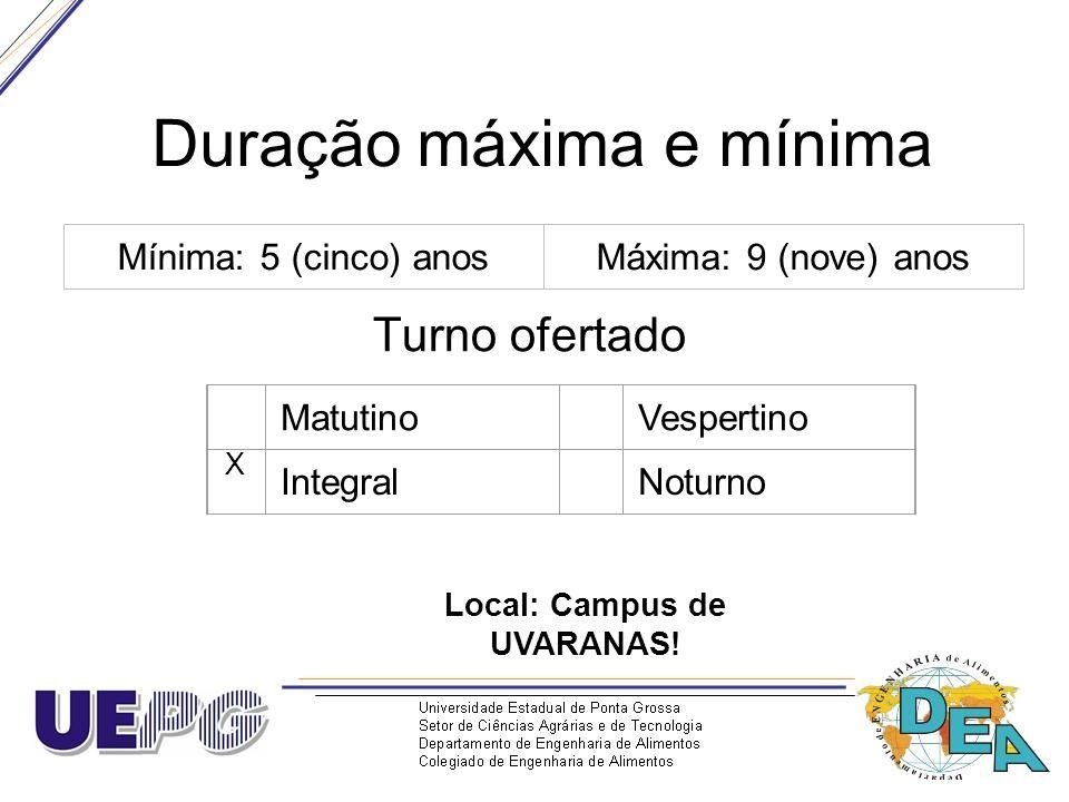Duração máxima e mínima Turno ofertado Mínima: 5 (cinco) anosMáxima: 9 (nove) anos Matutino Vespertino X Integral Noturno Local: Campus de UVARANAS!