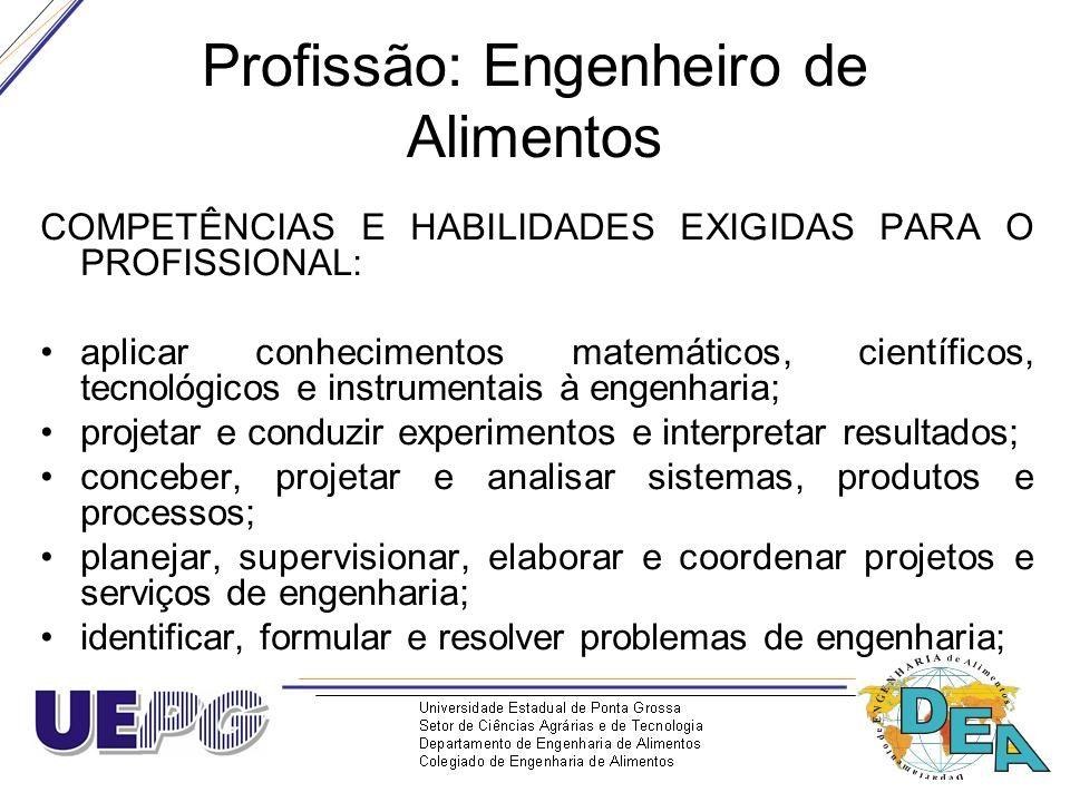 Profissão: Engenheiro de Alimentos COMPETÊNCIAS E HABILIDADES EXIGIDAS PARA O PROFISSIONAL: aplicar conhecimentos matemáticos, científicos, tecnológic