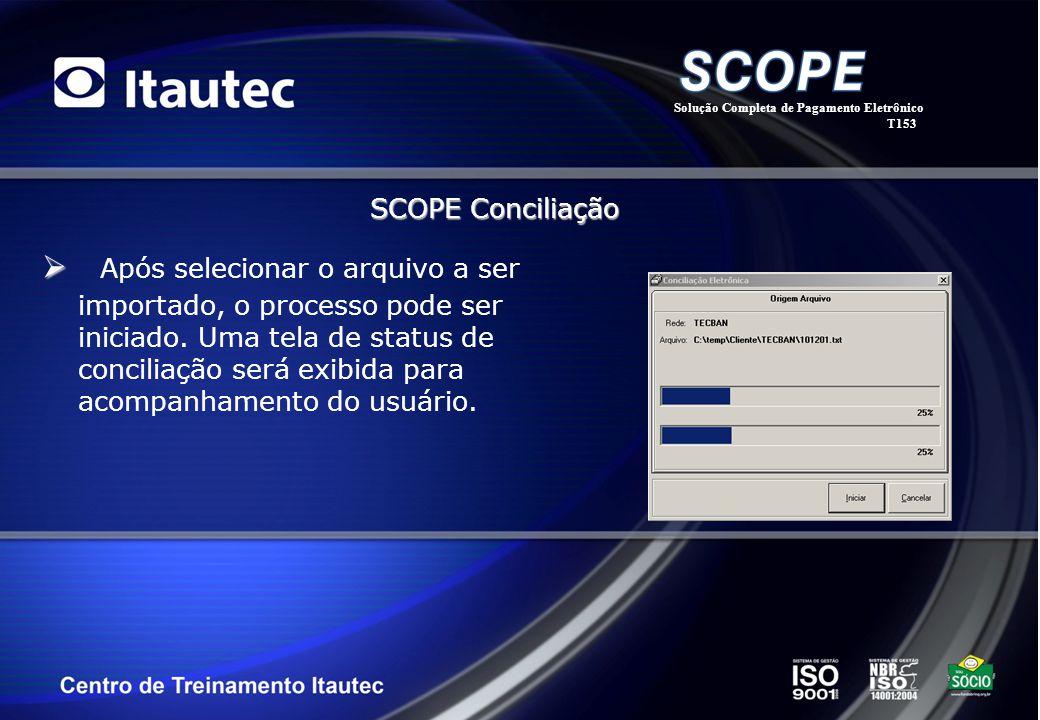 Após selecionar o arquivo a ser importado, o processo pode ser iniciado. Uma tela de status de conciliação será exibida para acompanhamento do usuário