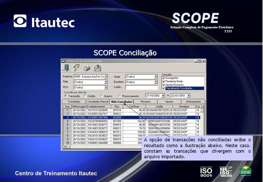 Solução Completa de Pagamento Eletrônico T153 SCOPE Conciliação A opção de transações não conciliadas exibe o resultado como a ilustração abaixo. Nest