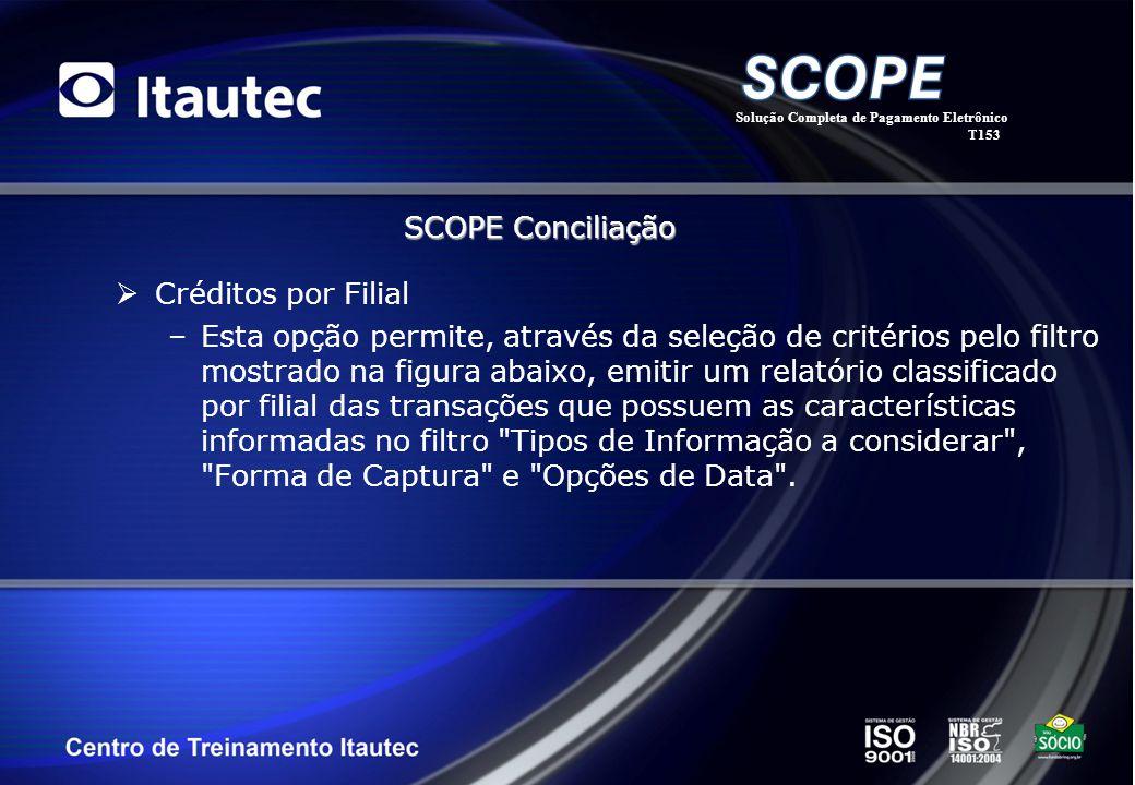 Créditos por Filial –Esta opção permite, através da seleção de critérios pelo filtro mostrado na figura abaixo, emitir um relatório classificado por f