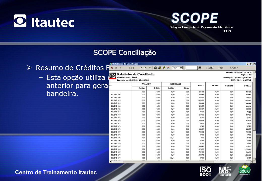 Resumo de Créditos Filial/Bandeira –Esta opção utiliza o mesmo layout do filtro de critério anterior para gerar um relatório classificado por filial e