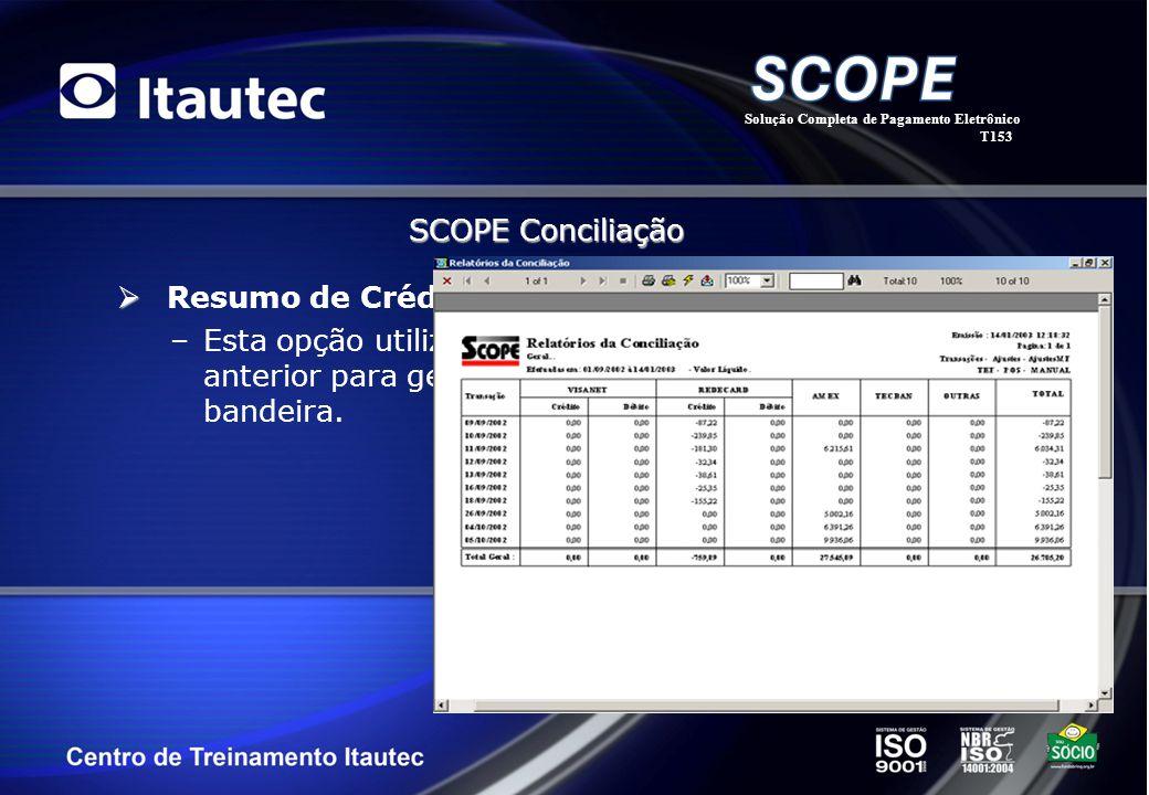 Resumo de Créditos por Data/Bandeira –Esta opção utiliza o mesmo layout do filtro de critério anterior para gerar um relatório classificado por data e
