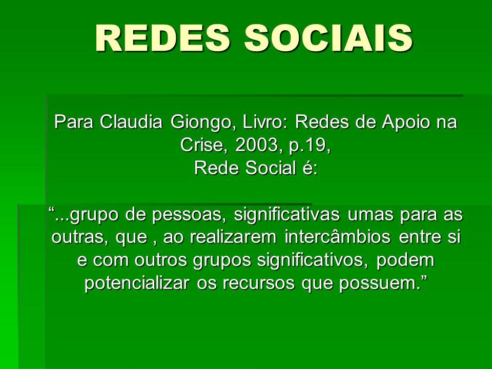 Para Claudia Giongo, Livro: Redes de Apoio na Crise, 2003, p.19, Rede Social é:...grupo de pessoas, significativas umas para as outras, que, ao realiz