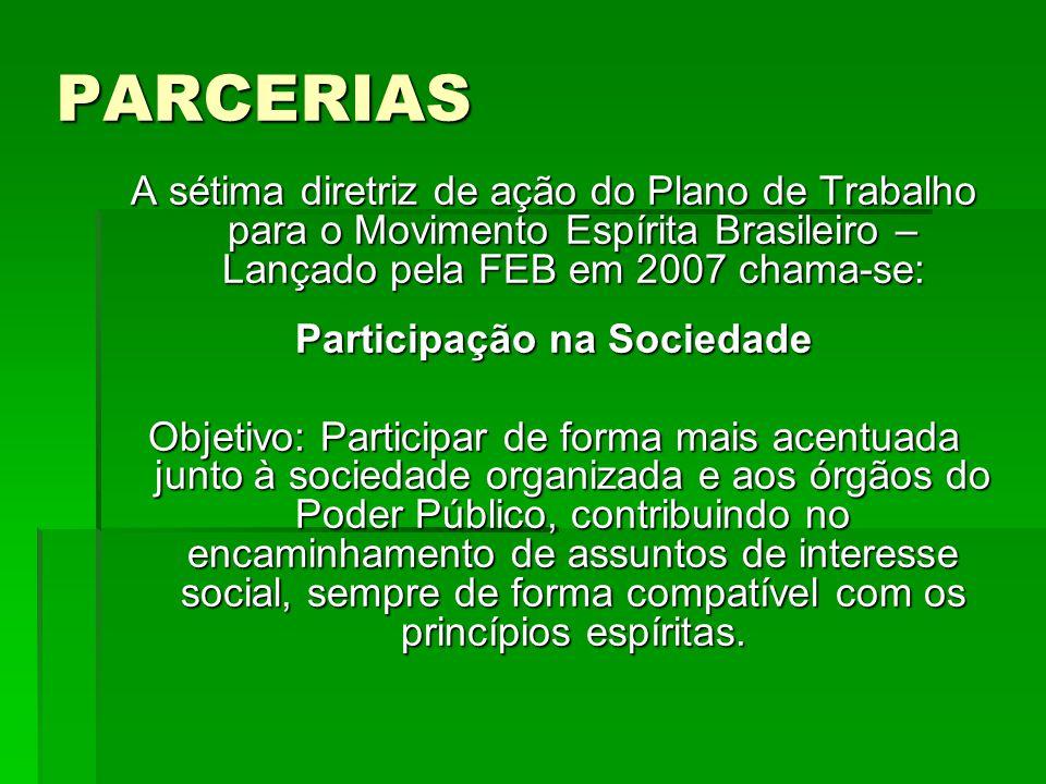 PARCERIAS A sétima diretriz de ação do Plano de Trabalho para o Movimento Espírita Brasileiro – Lançado pela FEB em 2007 chama-se: Participação na Soc
