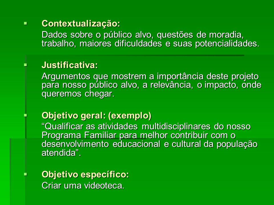 Contextualização: Contextualização: Dados sobre o público alvo, questões de moradia, trabalho, maiores dificuldades e suas potencialidades. Justificat