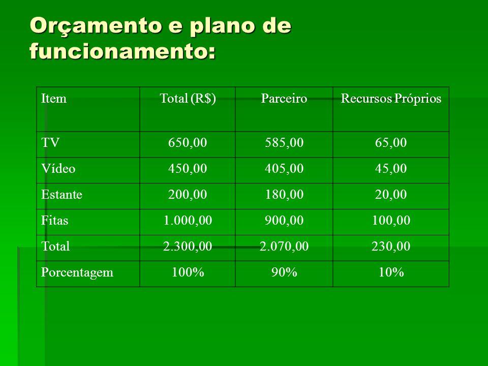 Orçamento e plano de funcionamento: ItemTotal (R$)ParceiroRecursos Próprios TV650,00585,0065,00 Vídeo450,00405,0045,00 Estante200,00180,0020,00 Fitas1