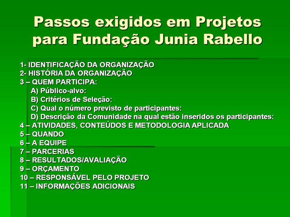 Passos exigidos em Projetos para Fundação Junia Rabello 1- IDENTIFICAÇÃO DA ORGANIZAÇÃO 2- HISTÓRIA DA ORGANIZAÇÃO 3 – QUEM PARTICIPA: A) Público-alvo