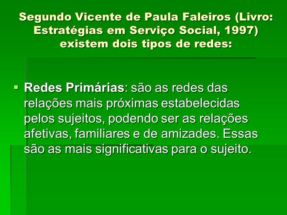 Segundo Vicente de Paula Faleiros (Livro: Estratégias em Serviço Social, 1997) existem dois tipos de redes: Redes Primárias: são as redes das relações