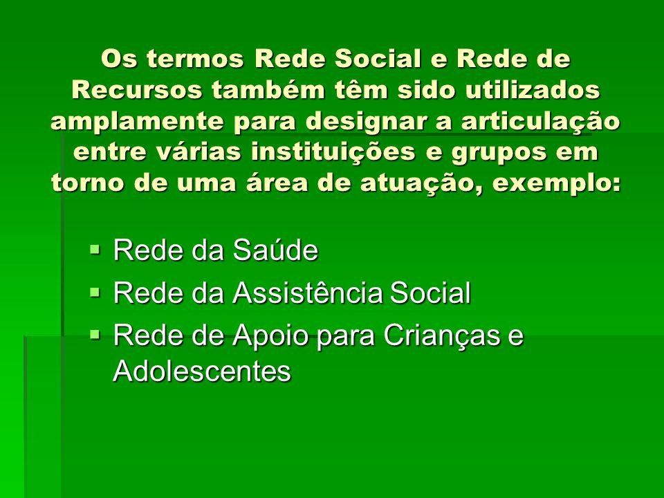 Os termos Rede Social e Rede de Recursos também têm sido utilizados amplamente para designar a articulação entre várias instituições e grupos em torno