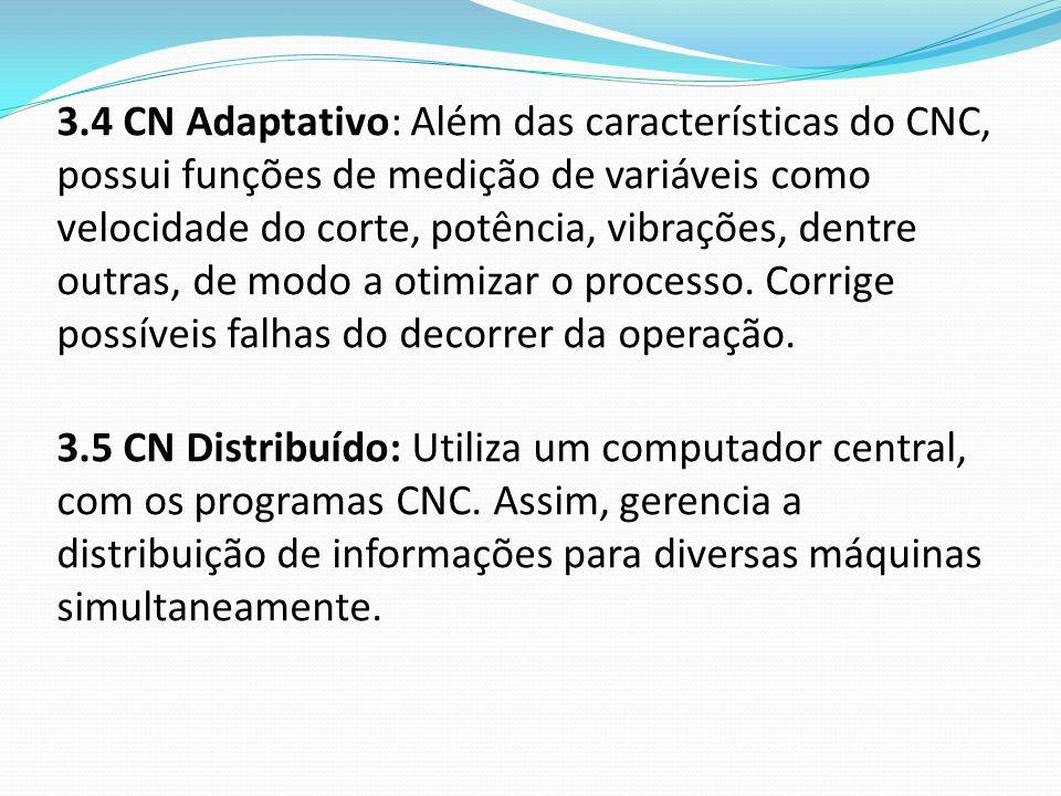 3.4 CN Adaptativo: Além das características do CNC, possui funções de medição de variáveis como velocidade do corte, potência, vibrações, dentre outra