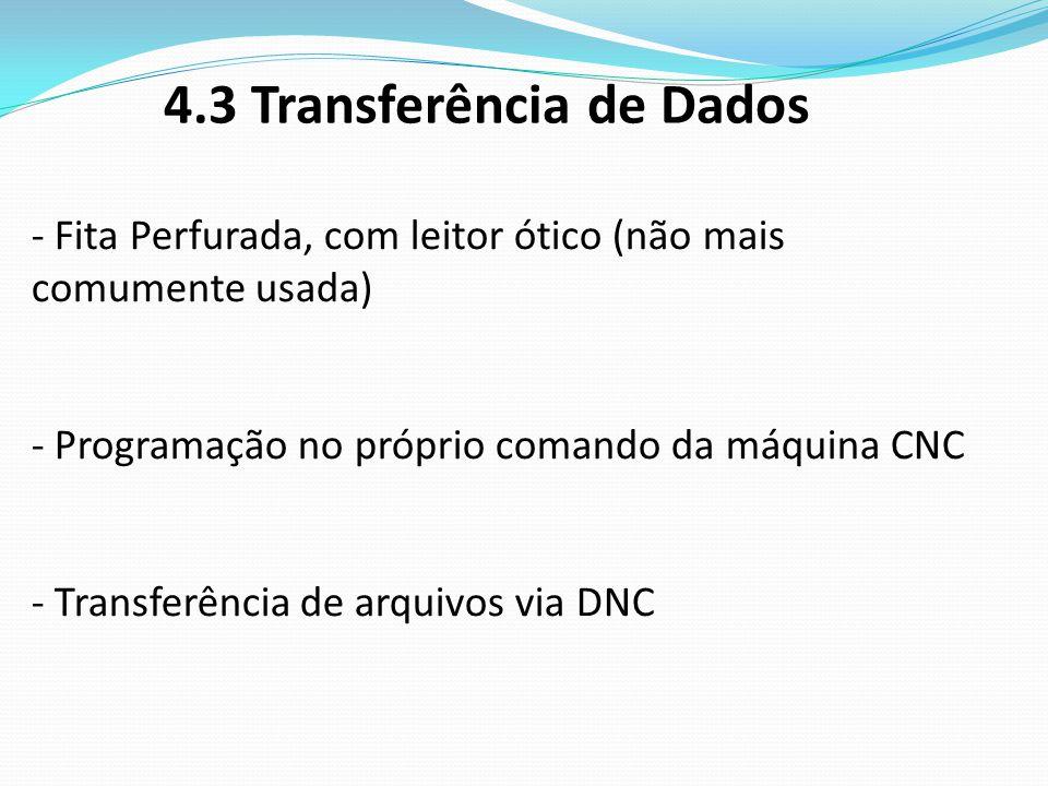 4.3 Transferência de Dados - Fita Perfurada, com leitor ótico (não mais comumente usada) - Programação no próprio comando da máquina CNC - Transferênc