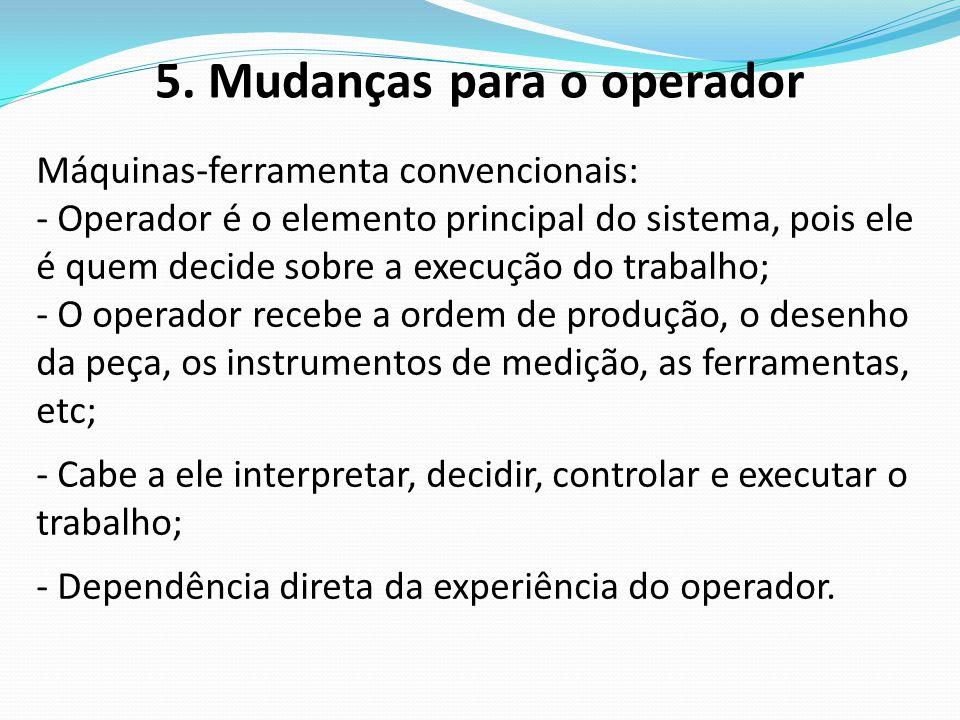 5. Mudanças para o operador Máquinas-ferramenta convencionais: - Operador é o elemento principal do sistema, pois ele é quem decide sobre a execução d