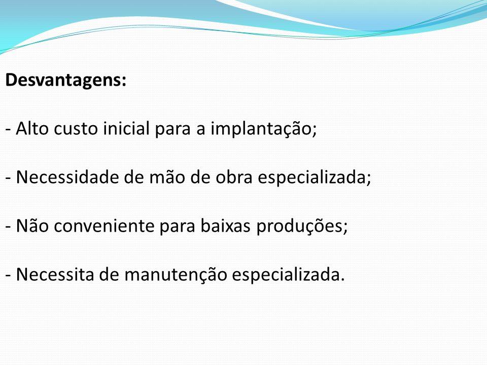 Desvantagens: - Alto custo inicial para a implantação; - Necessidade de mão de obra especializada; - Não conveniente para baixas produções; - Necessit