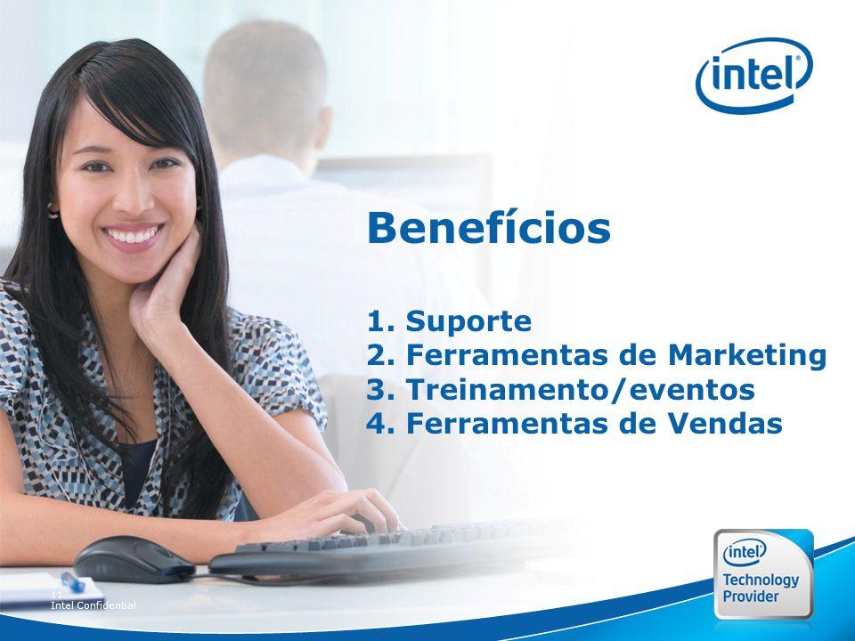11 Intel Confidential Benefícios 1. Suporte 2. Ferramentas de Marketing 3.