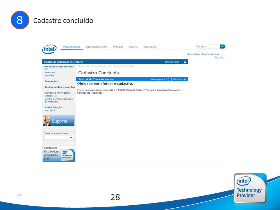Intel Confidential 28 8 Cadastro concluído