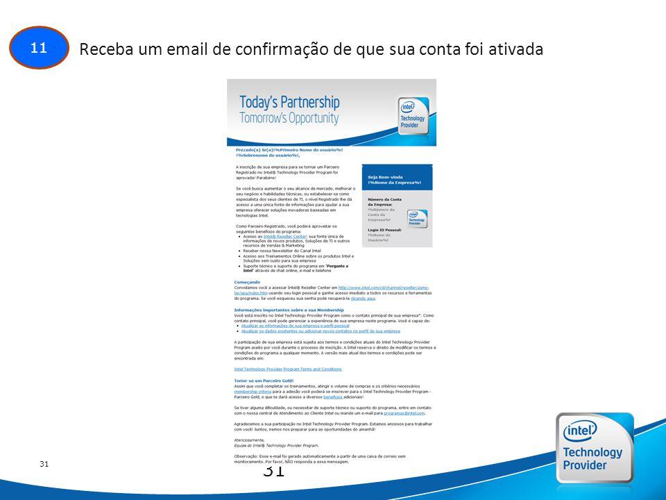 Intel Confidential 31 11 Receba um email de confirmação de que sua conta foi ativada