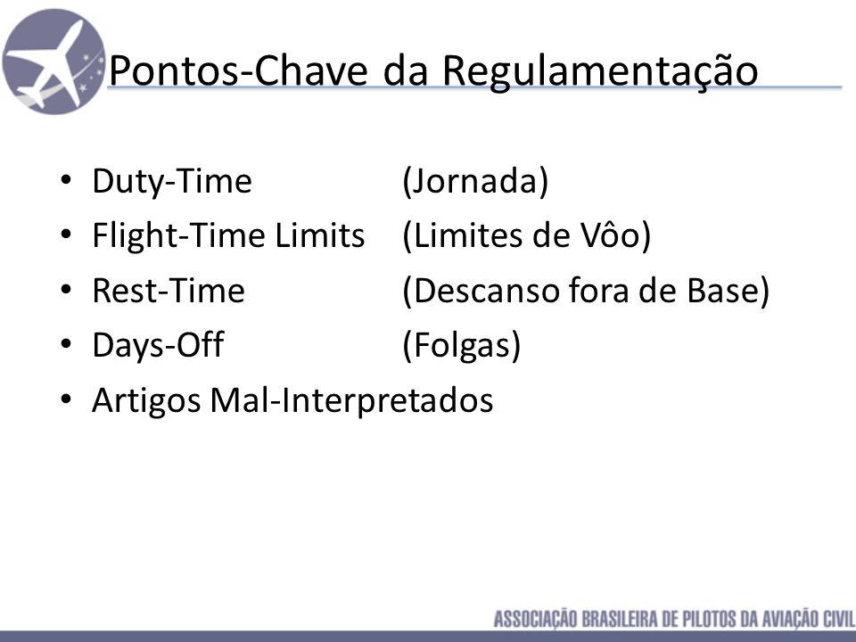 Pontos-Chave da Regulamentação Duty-Time (Jornada) Flight-Time Limits (Limites de Vôo) Rest-Time (Descanso fora de Base) Days-Off (Folgas)