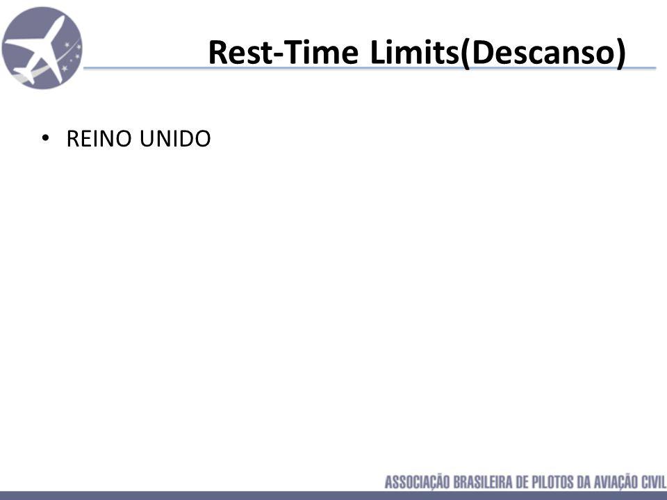 Rest-Time Limits(Descanso) BRASIL: 12:00hs de repouso após jornada de até 12:00hs 16:00hs de repouso após jornada de mais de 12:00hs até 15:00hs 24:00