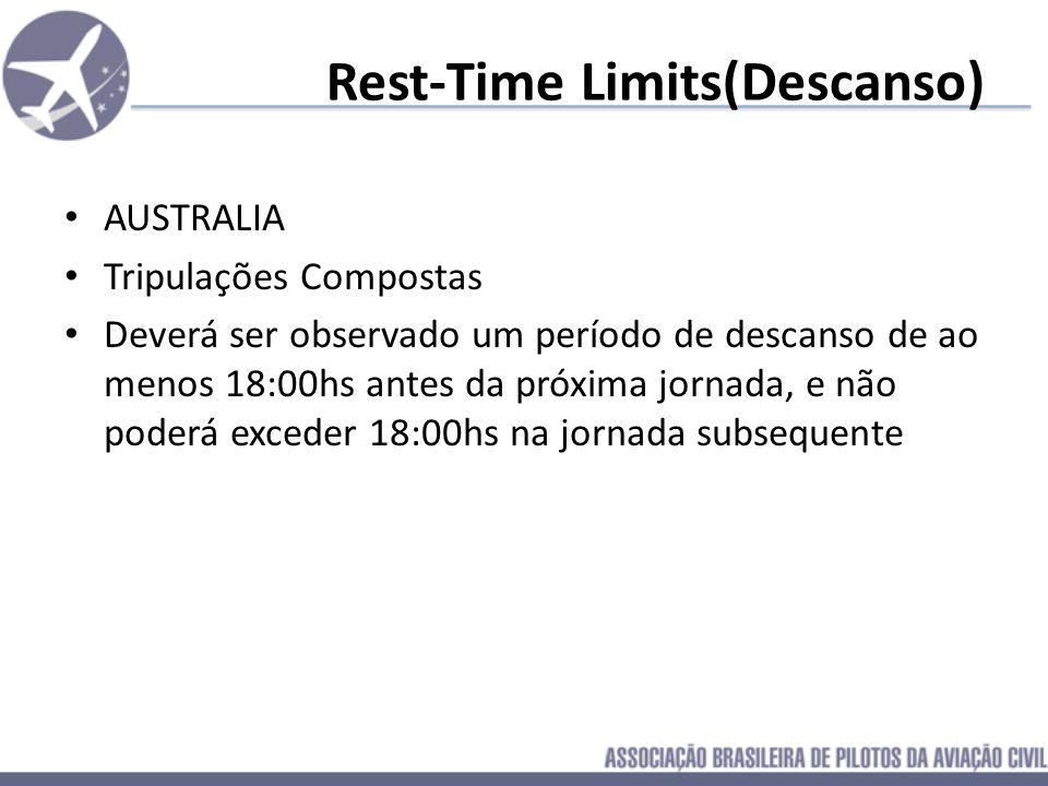 Rest-Time Limits(Descanso) AUSTRALIA Tripulações Simples O(a) Tripulante deve ter um descanso em SOLO de ao menos 12:00hs consecutivas que englobem o