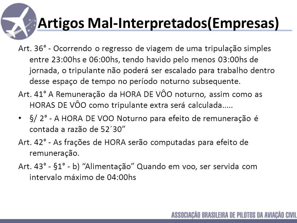 Artigos Mal-Interpretados(Empresas) Art. 22° - §1 – Qualquer ampliação dos limites das horas de trabalho deverá ser comunicada pelo comandante ao empr